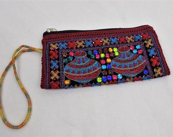 Coin Pouch*Ethnic Bag*Boho Bag*Sindhi Mirrored*Clutch Bag*Embroidered*Red Pouch*Tribal*Bohemian*Handcrafted Pouches//FREE SHIPPING//SP2702//