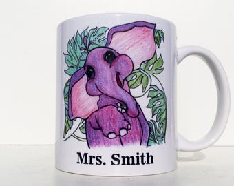 Personalised Elephant Mug, Any Name, Elephant Cup, Elephant Coffee mug, Tea Mug, Animal mug, Kindergarten teacher, Elementary Teacher gift
