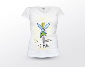 Fairy Shirt, Its Coffee Time, Coffee Shirt, Fairy Cloathing, Woman Clothing, Fairy Tee, Fairy T-Shirt, Fairytale Quote, Fantasy Shirt