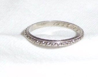 Vintage 18k White Gold 1930 Estate Wedding Ring Band Custom Engraving 3.0g sz 10 Large Marked 18 k kt 18kt 750 Men Man Engraved all Sides
