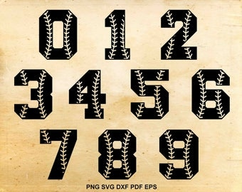 Baseball font svg, Baseball numbers, Baseball stiches, Softball font Svg files for Silhouette Cameo, Cut files for Cricut, eps png svg dxf