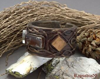 Celtic bracelet from polymer clay Polymer clay jewelry bracelet Copper cuff bracelet Etnic style bracelet for woman