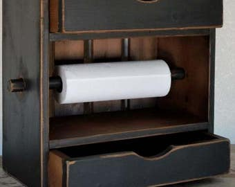 Paper towel holder with double drawers