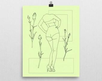Green - Original Ink Illustration Print - 8x10 in.