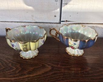 Vintage Japanese Teacups Iridescent with Purple or Yellow with Flowers and Gold Trim