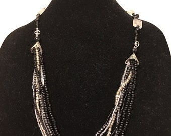 Handmade reversible black and white bead necklace