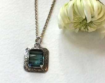 Vintage glass and Sterling Silver handmade pendant on chain Decco style faceted vintage glass