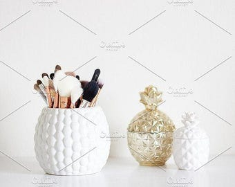 Styled Stock Photo | Makeup Brushes & Pineapples (Wide) | Blog stock photo, stock image, stock photography, blog photography