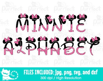 Minnie Mouse Alphabet Font SVG, Minnie Mouse Letters SVG, Disney Digital Cut Files in svg, dxf, png and jpg, Printable Clipart