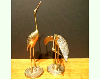 Large Vintage Mid Century Pair of Brass Cranes Egrets Figurines - Set of 2