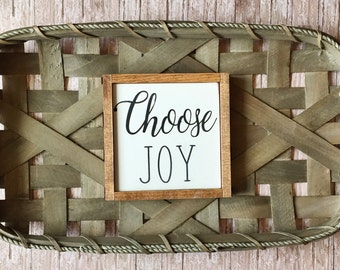 """Choose Joy mini 6""""x6"""" wood sign/gallery wall sign/rustic wood signs/signs with sayings/framed wood signs/farmhouse signs/fixer upper"""