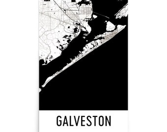 Galveston Map, Galveston Art, Galveston Print, Galveston TX Poster, Galveston Wall Art, Map of Galveston, Galveston Gift, Galveston Decor