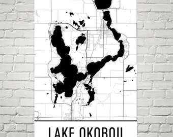 Lake Okoboji Iowa, Lake Okoboji IA, Iowa Map, Iowa Decor, Lake Map, Okoboji Lake Art, Art, Cottage Decor, Okoboji IA, Sailing, Fishing