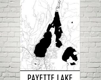 Payette Lake Idaho, Payette Lake ID, McCall ID, Idaho Lakes Map, Lake Map, Idaho Lake Art, Payette Lake Art, Payette Lake, Wall Art
