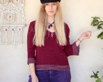 Vintage Crochet Lace Up Jumper