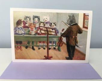 Music Lesson Greeting Card, Cats Class Card, Vintage Image Card, Teacher Card, Student Card, Music Card