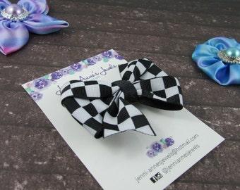 Pinwheel Hair Bow Clip - Checker