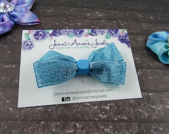 Large Glitter Bow Tie Clip - Blue/Green