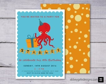 Personalised Octopus Invitation, Under the Sea Party Invitation, Printable Octopus Birthday Invitation, Blue Invite, Under the Sea Party