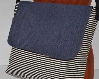 Canvas messenger bag white blue stripe  school bag , messenger bag, cross body back, canvas shopping bag