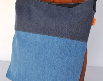 Canvas shoulder bag  2 tone blue , messenger bag  school back, shoulder bag ,cross body back, canvas shopping bag