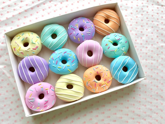 Set of 12 Pastel Polymer Clay Doughnut Sewing Pattern Weights | 12 x 30g | Great Gift for Sewists of All Abilities | Ideal for Birthdays