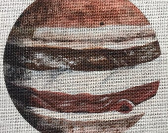 Original Artwork Of Jupiter On 8X 10 Burlap