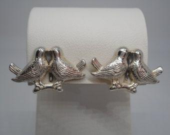 Antique Art Deco Sterling Silver Love Bird Earrings