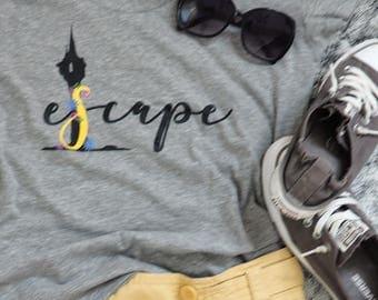 Tangled Rapunzel Tower Escape Tee, Tangled Disney Shirt, Escape Travel Shirt,