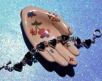 Sterling Silver Black Onyx Heart Chain Bracelet 1990's