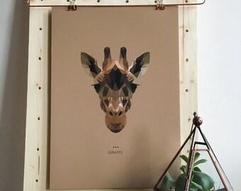 Giraffe Lowpoly Fine Art Design Giclee Print   A3   Spirit Power Animal / Totem / Colour Psychology