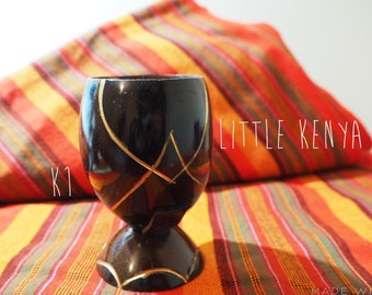 African Coconut Shell Hand-Carved Cup Container Handmade tribal