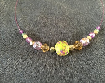 Green, gold and purple wire necklace