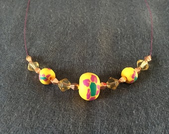 Rose gold, yellow and purple wire necklace