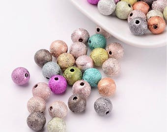 50 pc Mixed Color Stardust Round Acrylic Beads 8mm