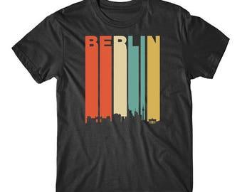 Vintage Retro 1970's Style Berlin Germany Cityscape Downtown Skyline Shirt