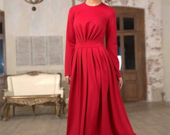 Custom made knitted angora winter maxi dress, long dress for cold weather, red angora maxi dress Winter outfit