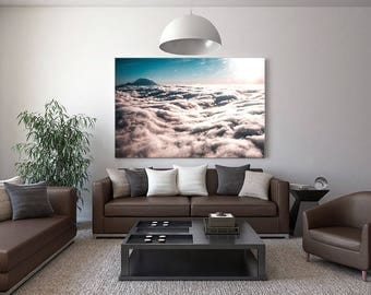 Large Scale Mountain Photography Mt Rainer  Large Canvas Print Clouds Airplane Art Print Home Wall Decor Pink Sky Puget Sound PNW Home