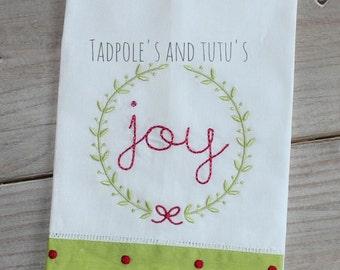 Ready to Ship Kitchen Towel, Christmas Linen Kitchen Towel, Joy Towel, Laurel Wreath Kitchen Towel