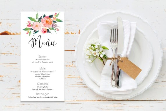 Menu word template_11,table menu, word template, weddings, editable menu card, napkin menu insert,calligraphy