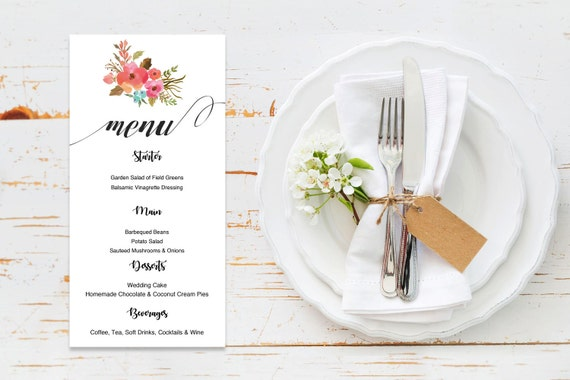 Menu word template_23,table menu, word template, weddings, editable menu card, napkin menu insert,calligraphy