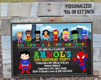 Superhero Birthday Invitation/ Superhero Party Invitation / Superhero Boy Invitation / Superhero Invitation / Superhero Invite_CB006