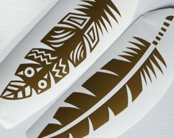 Tribal Feathers (Set of 2)- Choose 2 colors- Aztec Feathers- Laptop Vinyl