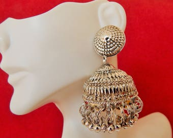 Silver  oxidized Light-weight ~Beautiful Jhumkas earrings~BOHO/TRIBAL~mother's day gift