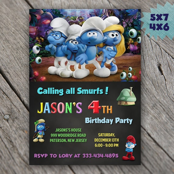 The Smurfs invitation Smurfs birthday invitation smurfs party