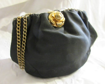 1920's/30's silk handbag, evening purse, padded, chain handle, heavy black silk, snap close, great condition, fun, funky, fabulous