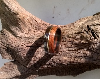 Rosewood Wood Ring with Brass Inlay Bentwood Ring Handmade