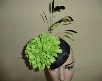 Black and Lime Pillbox Hat. Black and Lime Hat.Wedding Hat. Ascot Race Hat. Occasion Hat. Made for you by Harlequin Fascinators