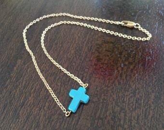 Turquoise Cross Bead & Gold Chain