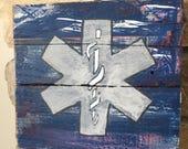 EMT/Paramedic Sign // Snake and Pole Emblem // Rustic Decor